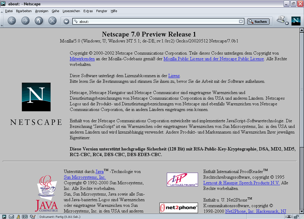 Als technische Basis dient Mozilla 1.0 RC2