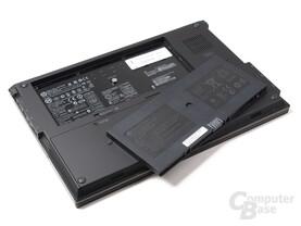 HP ProBook 5320m von unten, Akku entfernt