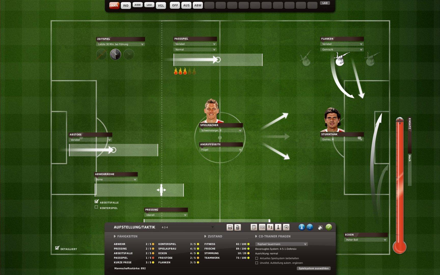 Der neue Taktik-Bereich vergrößert die Spieltiefe