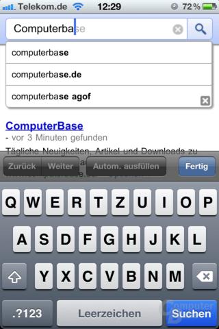 Google Instant-Suche unter iOS