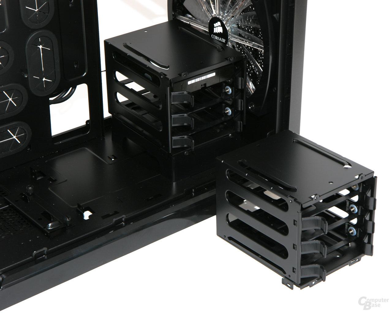 Corsair Graphite 600T – Demontierter Festplattenkäfig