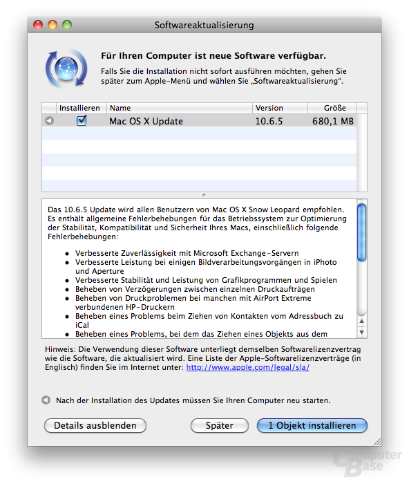 Update auf Mac OX X 10.6.5