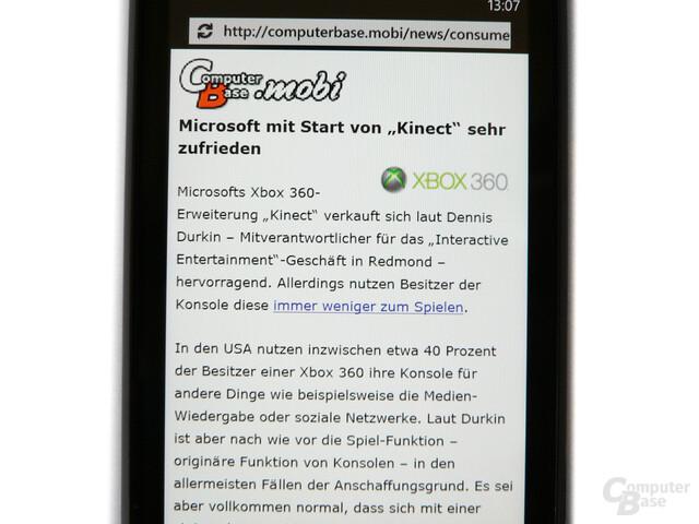 ComputerBase-Mobi auf dem HTC Mozart