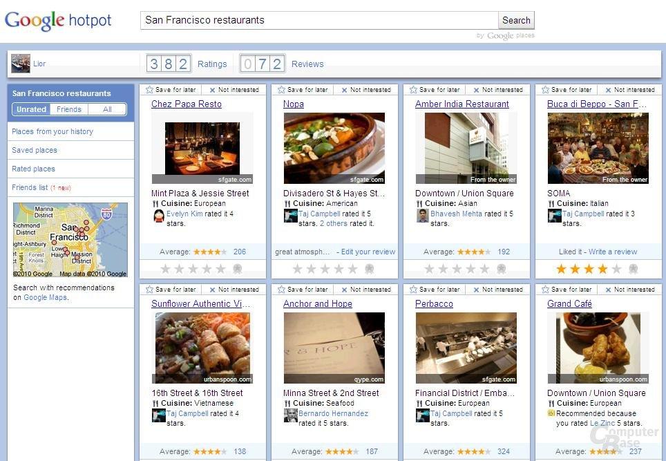 Google Hotpot im Webbrowser