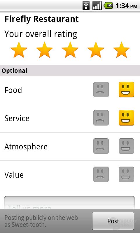 Bewertung auf dem Android