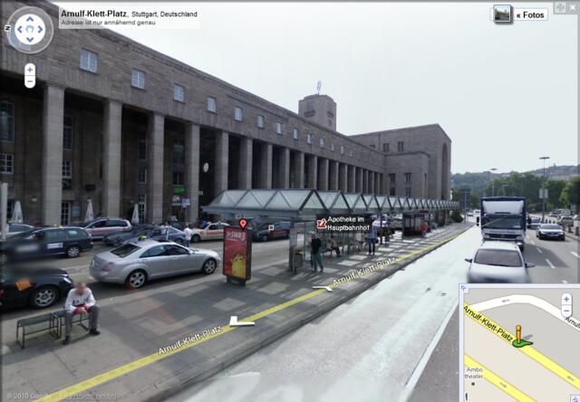 Bei Street View noch in voller Pracht: Der Stuttgarter Hauptbahnhof