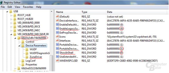 Zu verändernde Einträge in der Windows-Registry