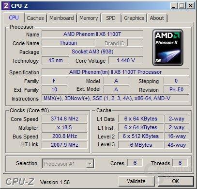 AMD Phenom II X6 1100T Black Edition mit Last auf drei Kernen