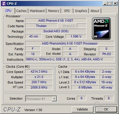 AMD Phenom II X6 1100T Black Edition bei 4,2 GHz
