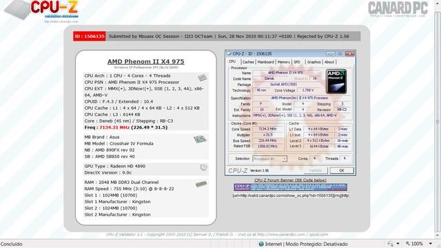 7,134 GHz, aber CPU-Z-Validierung fehlgeschlagen