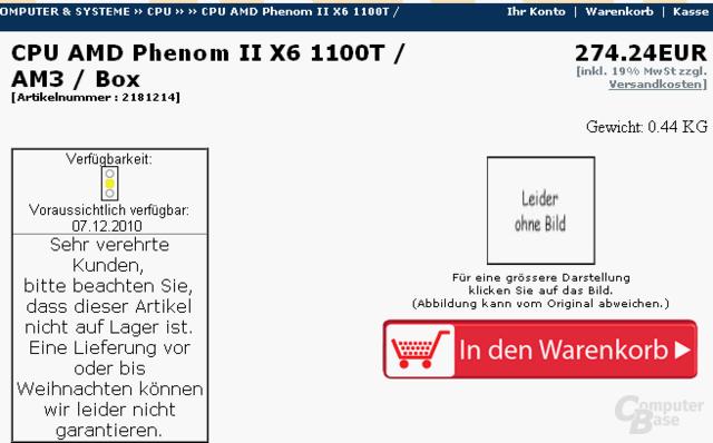 AMD Phenom II X6 1100T bei deutschem Händler