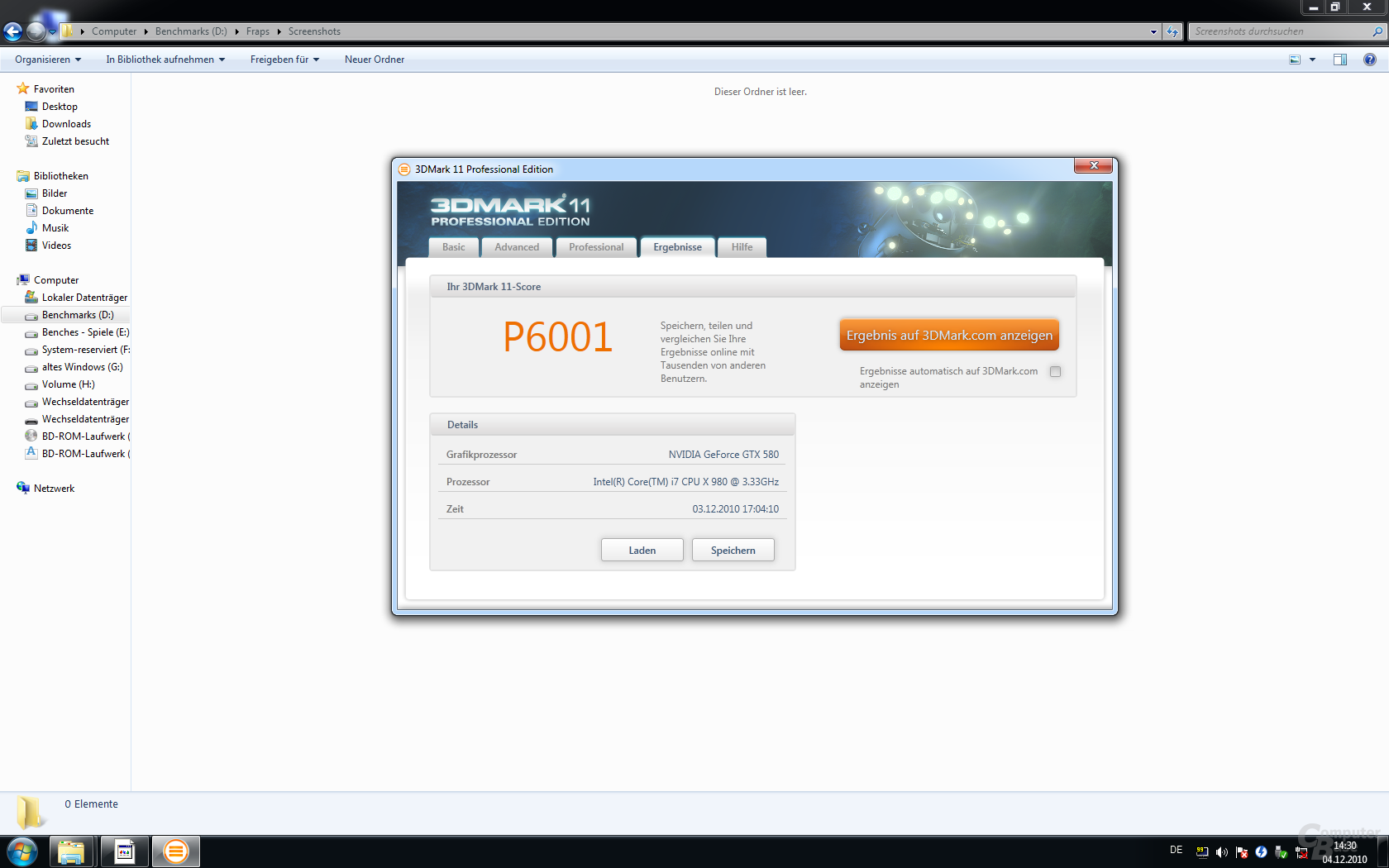 3DMark 11 Performance-Preset: Core i7 Extreme Edition 980X und GeForce GTX 580