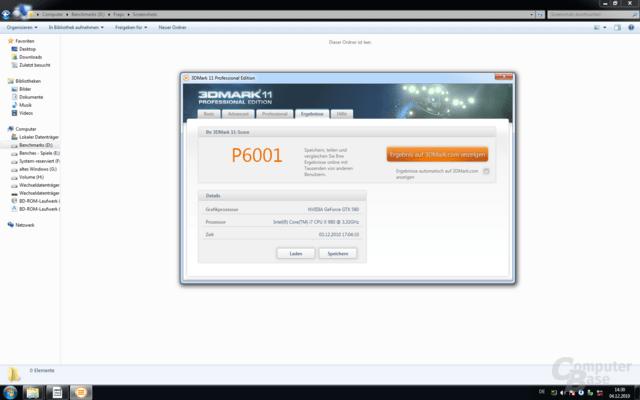 3DMark 11 Performance-Preset: Core i7 Extreme Edition 980X und GeForce GTX 580