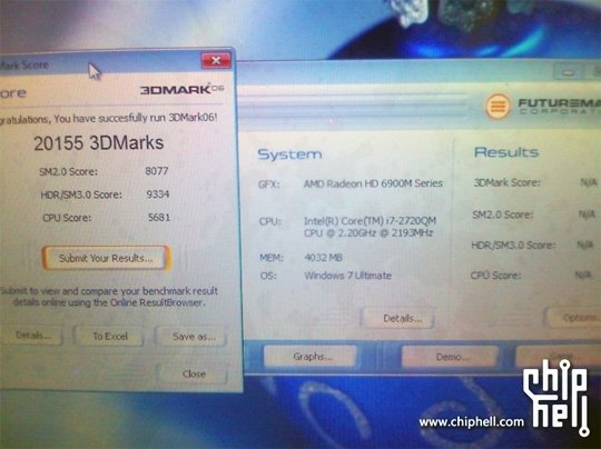 Dell Alienware M17x-Refresh im 3DMark06