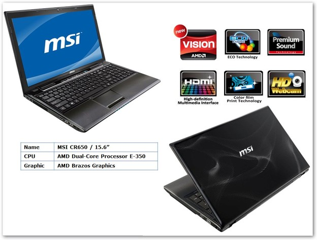"MSI CR650 mit AMDs ""Brazos""-Plattform"