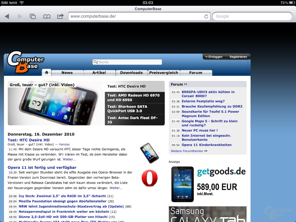iPad: Safari-Browser (ComputerBase)