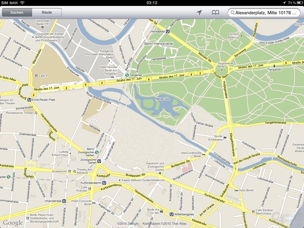 iPad: Navigation und Maps