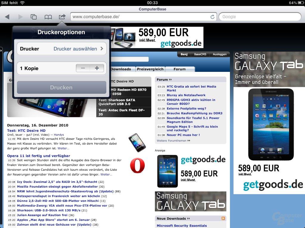 iPad: Drucken