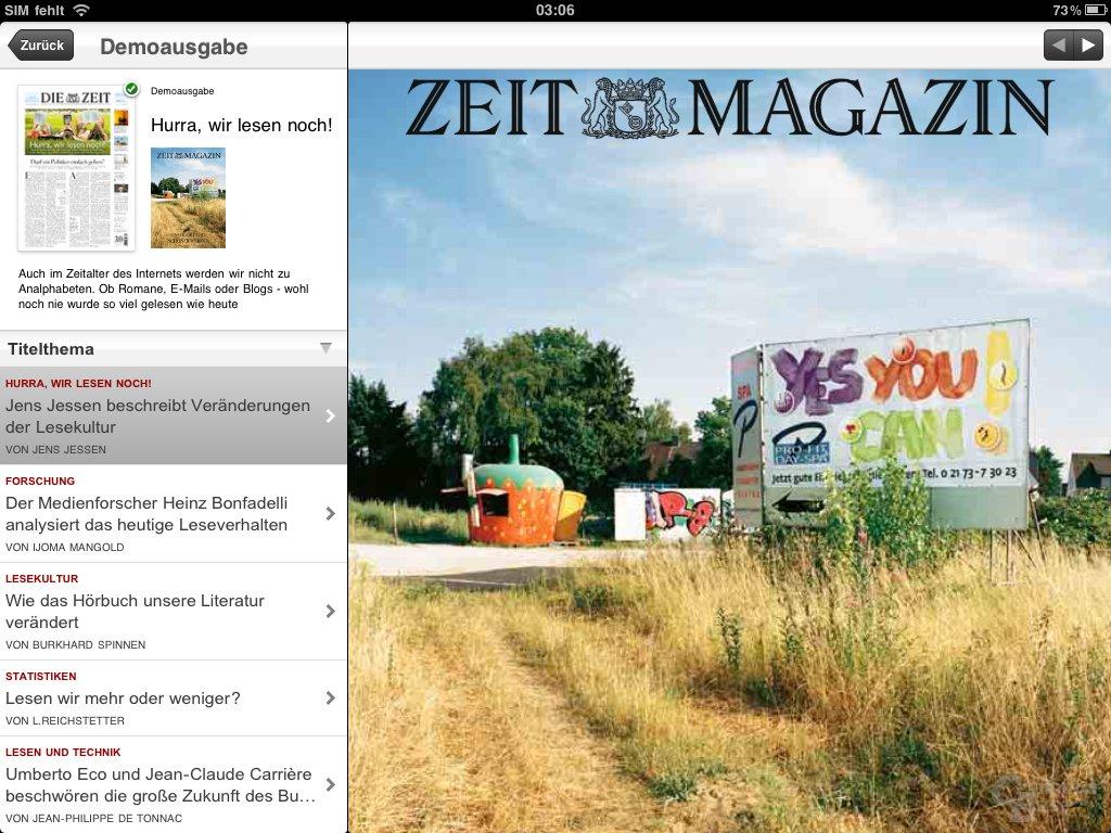 iPad: Zeitungen lesen (ZEIT-App)