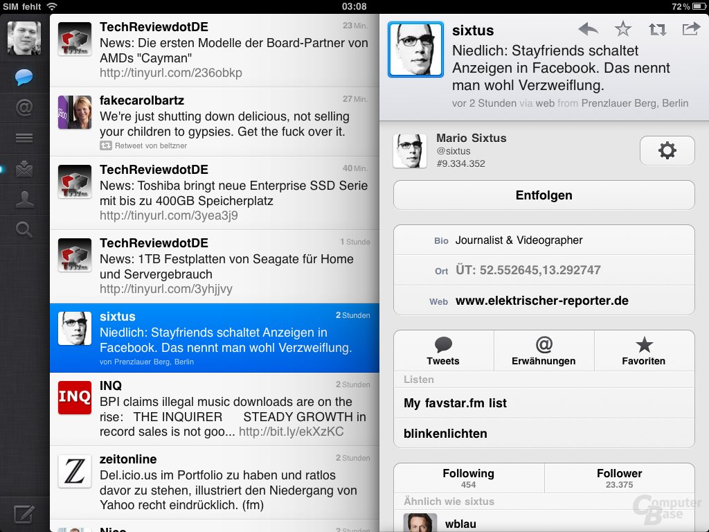 iPad: Social Networks (Twitter)