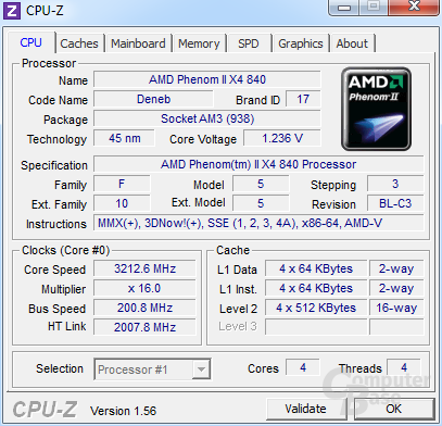 AMD Phenom II X4 840 undervoltet