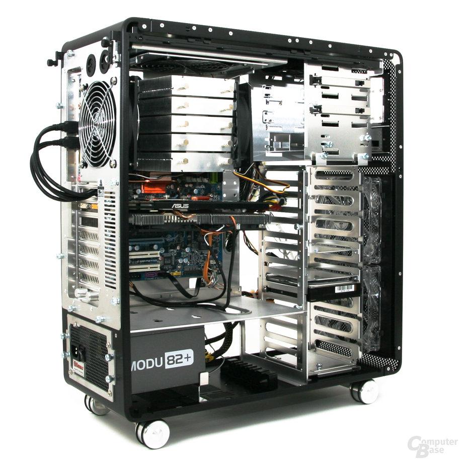 Lian Li PC-V1020B – Innenraum Rückseite links mit Hardware