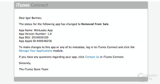 WikiLeaks aus App Store entfernt