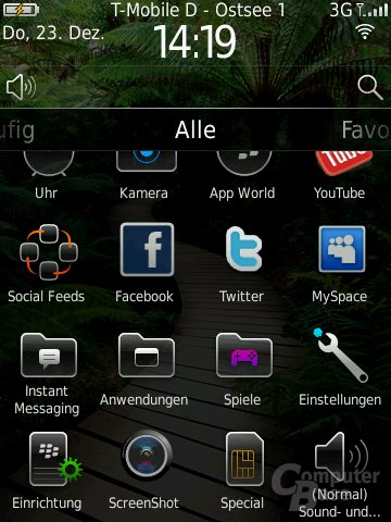 BlackBerry OS 6: Menü