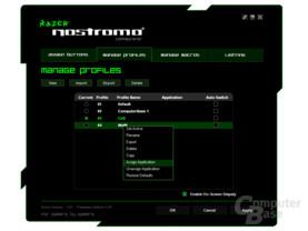 20 Profile können mit Anwendungen verknüpft werden