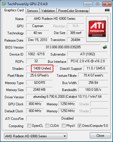 """Radeon HD 6950 vor """"Freischaltung"""""""