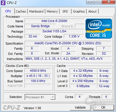 """Unlocked"" Intel Core i5-2500K bei 4,5 GHz"