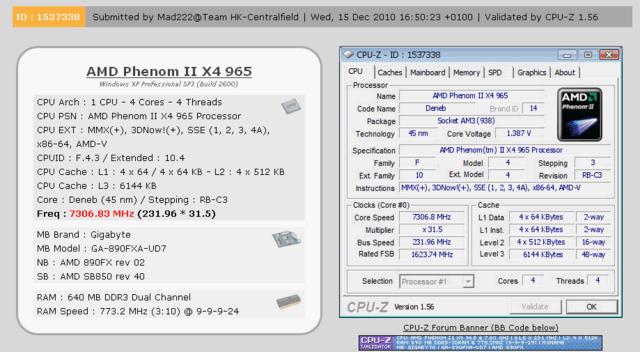 AMD Phenom II X4 965 BE mit 7,3 GHz