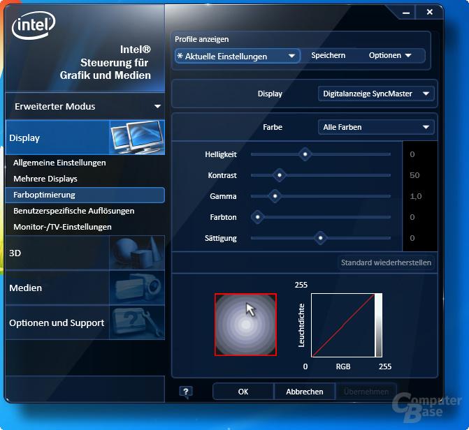 Intel Grafiktreibermenü