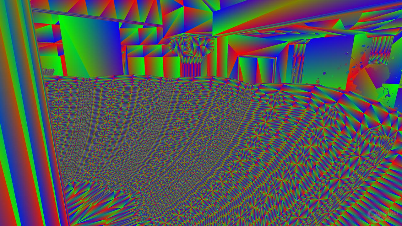 Dreieck-Debug-Ansicht zeigt den hohen geometrischen Detailgrad des Kronleuchters