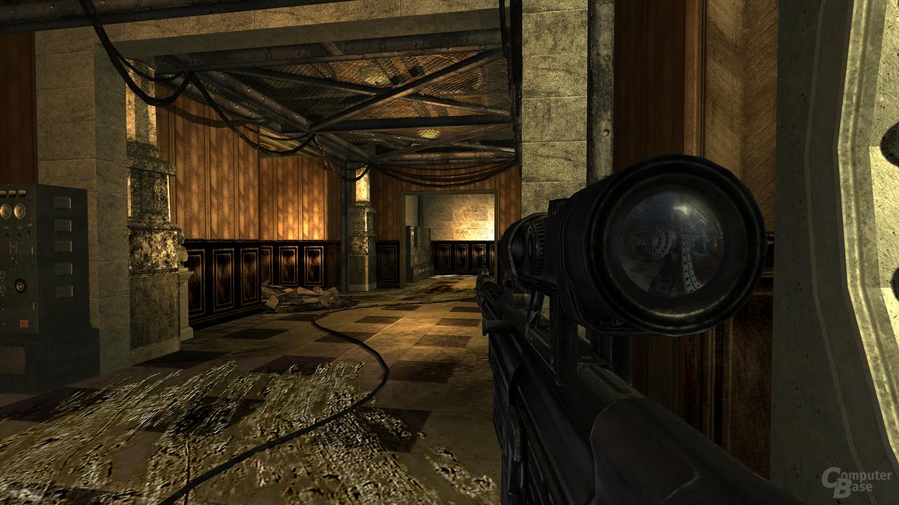 Spiegelndes Fernrohr gibt dem Spieler Informationen darüber, was hinter ihm passiert