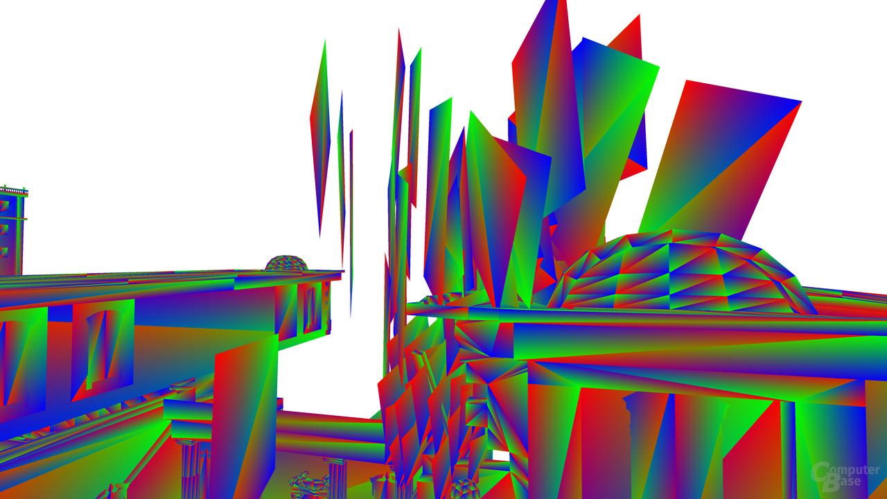 Debug-Ansicht von der Seite auf die eingefrorene Ansicht der Partikel: Dreieck-Debug-Ansicht.