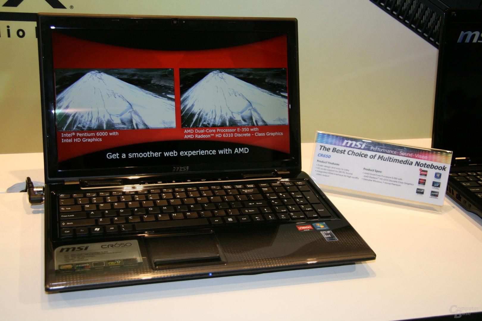 MSI-Geräte mit AMDs Fusion auf der CES 2011