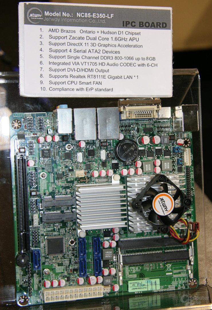 "Jetways Mini-ITX-Platine mit AMDs ""Fusion"""
