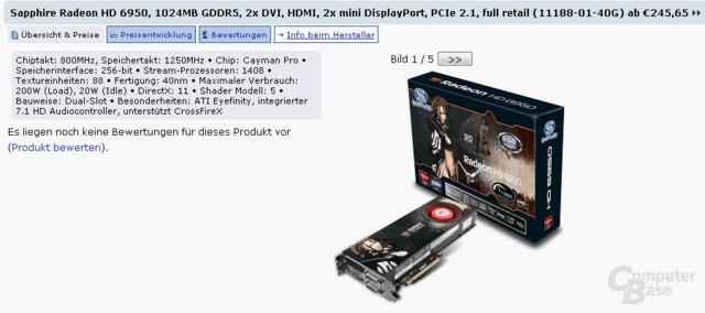 Sapphire Radeon HD 6950 mit 1 GB Speicher im Preisvergleich