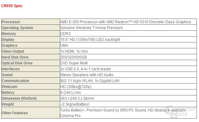 Spezifikationen zum MSI CR650