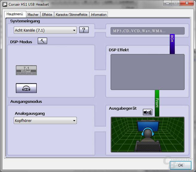 Software des Corsair HS1 USB Gaming Headsets