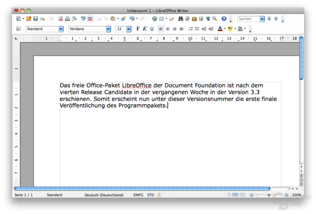 LibreOffice Writer 3.3 unter Mac OS X