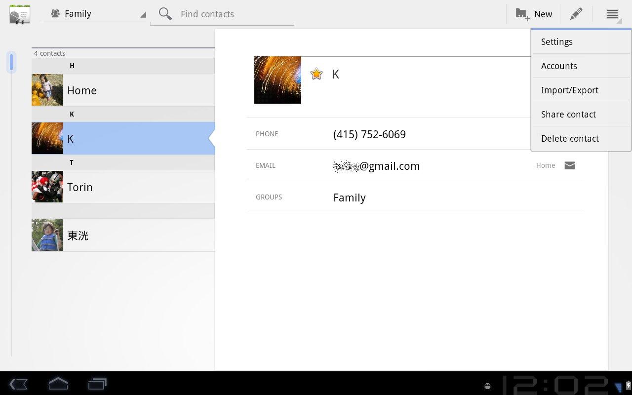 Android 3.0: Kontakt-Verzeichnis