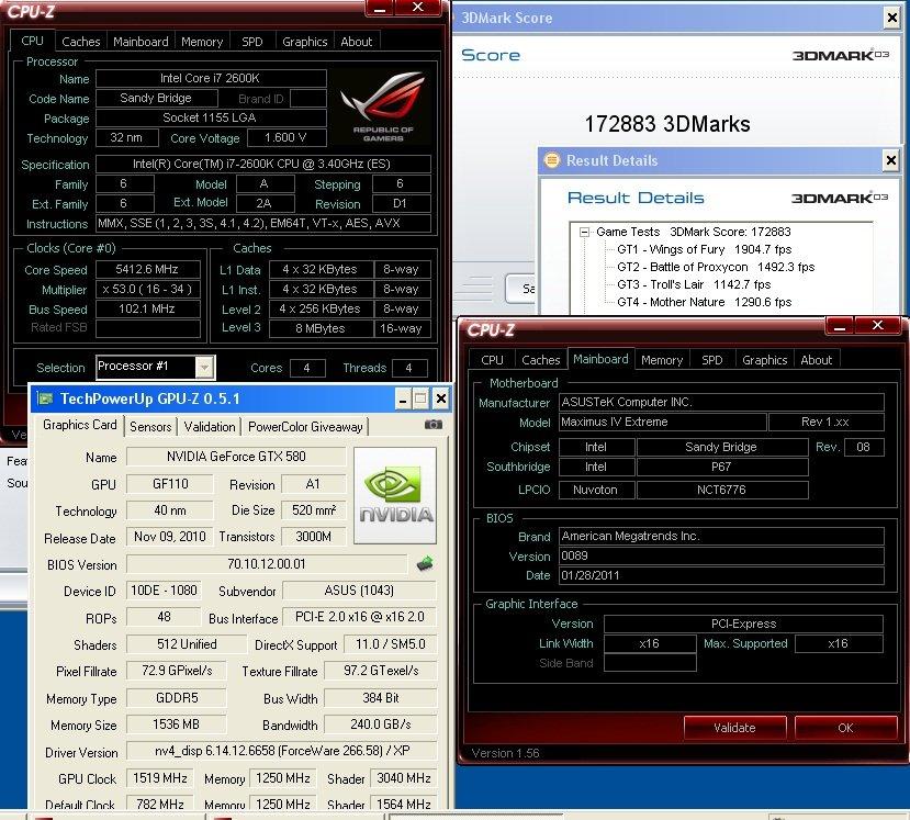 GTX 580 mit 1.519 MHz Chiptakt im 3DMark 03