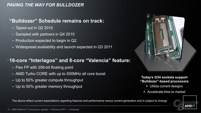 """AMD: Ausblick auf """"Bulldozer"""" für Server"""