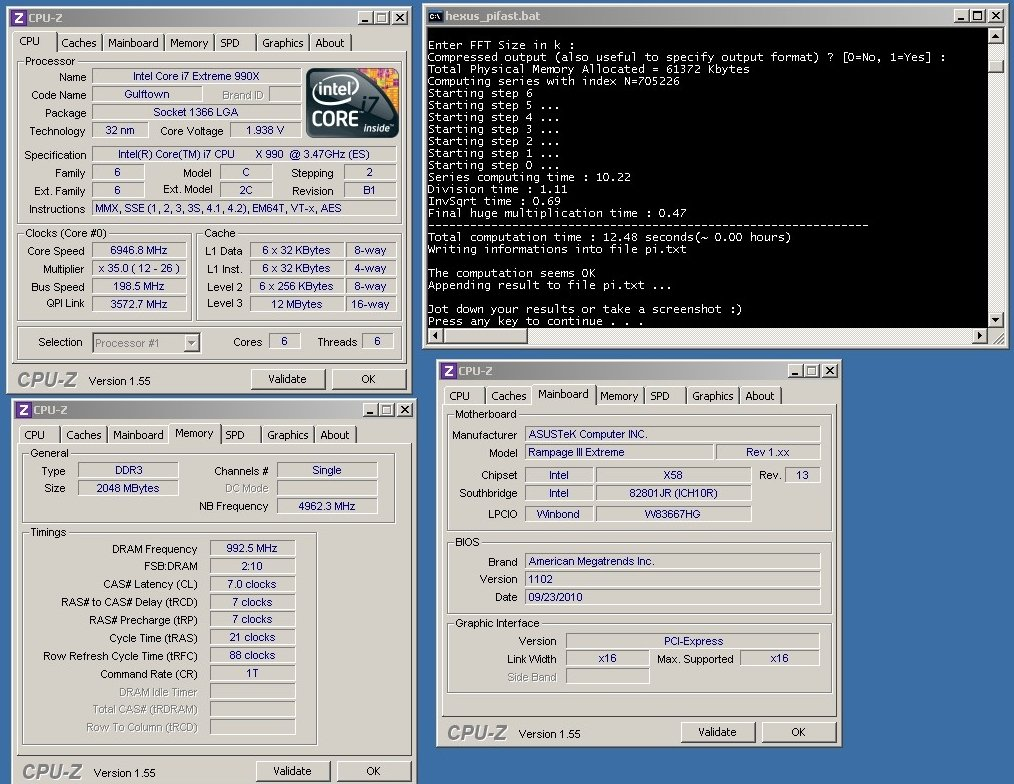 Core i7-990X bei 6,947 GHz