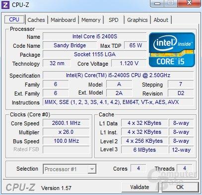 Intel Core i5-2400S mit Turbo und Last auf vier Kerne