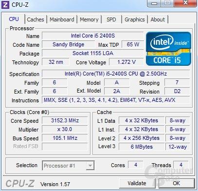 Intel Core i5-2400S übertaktet und Last auf vier Kerne