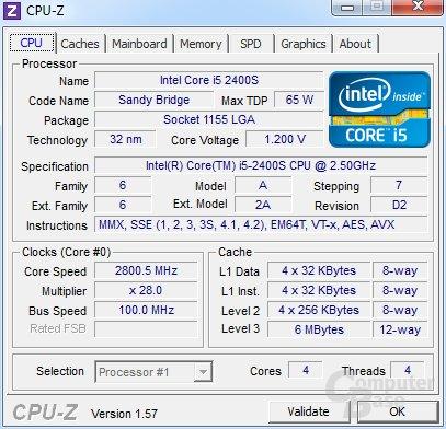 Intel Core i5-2400S bei Turbo mit zwei Kernn