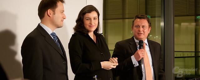 Die drei Veranstalter der Politiker-LAN: Manuel Höferlin, Dorothee Bär, Jimmy Schulz (v.l.n.r.)